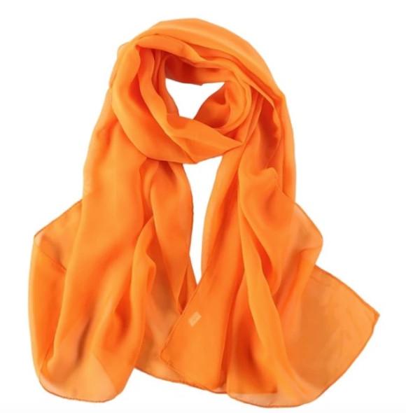 "Orange Long Sheer Chiffon Scarf 12 PACK  21"" x 60"" 2134OR"