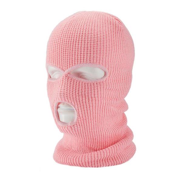 Three Hole Knit Ski Mask- Pink 3061LP