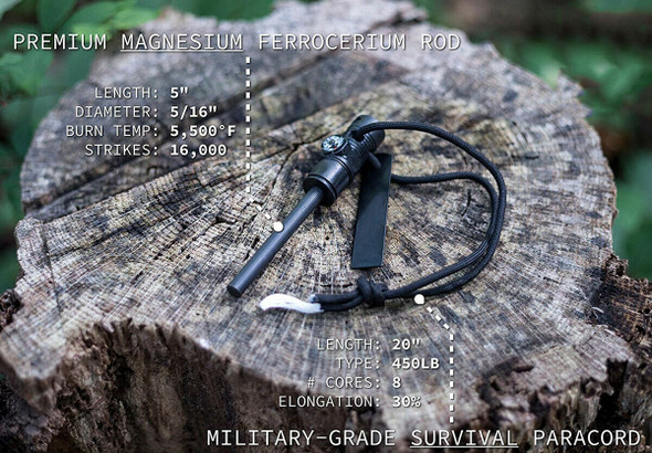 Magnesium Fire Starter | Magnesium Ferro Rod Fire Starter w/ Compass & Paracord For Survival and Camping - 30205