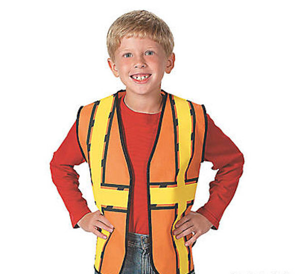 Kids Dress Up Construction Set - Construction Worker Vest with Construction Worker Soft Plastic Construction Helmets Hat 8607B
