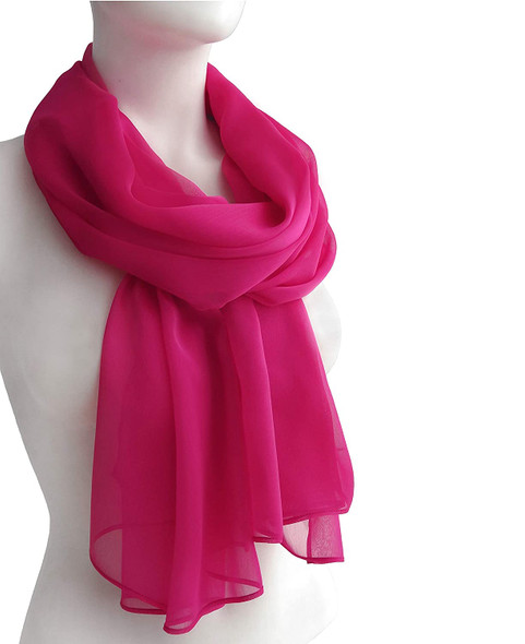 "Hot Pink Long Sheer Chiffon Scarf 21"" x 60"" 12 PACK 2130"