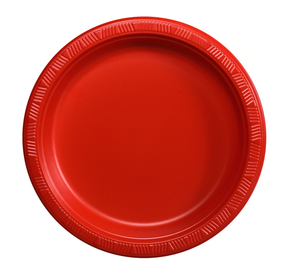 Red 7-in. Plastic Dessert Plates, 12-ct. Packs 3856PR