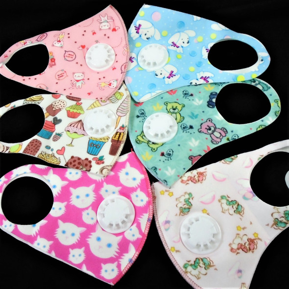 Kids Designs Face Masks Polyester Kids Masks with Vent 12 PACK