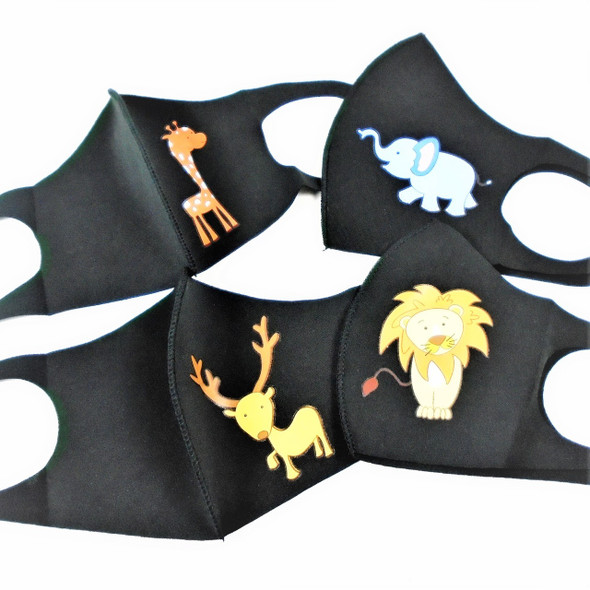 Black Face Masks for Kids  Neoprene w/ Animal Print 12 PACK 70001BM