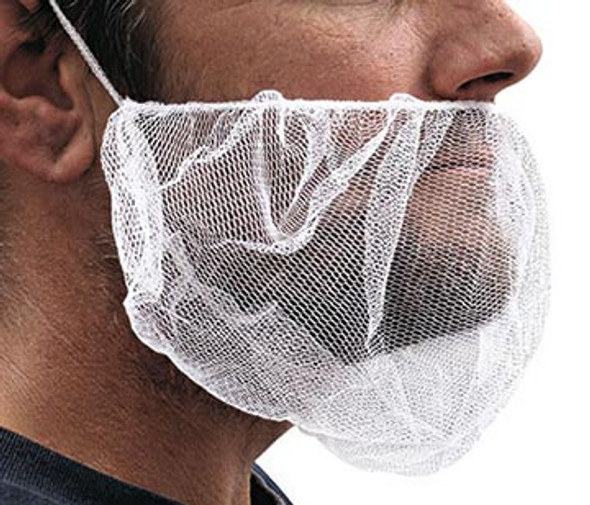 "Beard Covers 18"" Nylon Mesh White 100 PACK 1503BN"