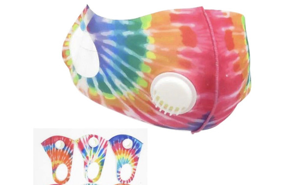 Tie Dye Face Masks |  Adult Size Adjustable 2 Layer w/ Filter  | 12 PACK 70001TD