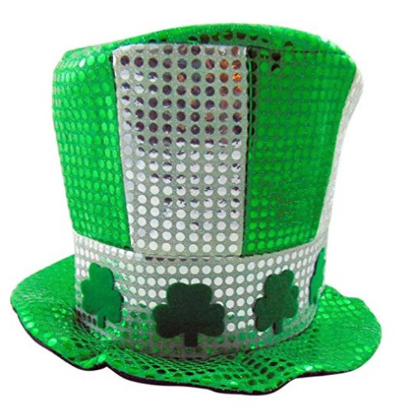 12 PACK Shamrock White/Green w/ Silver Sequin Top Hat 5888