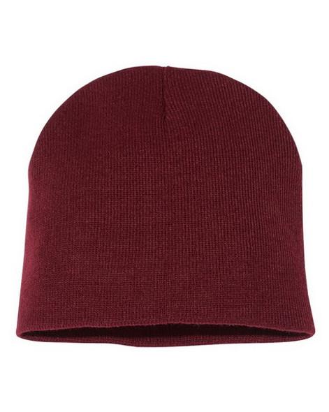 Short Beanie Hat Burgundy 5743