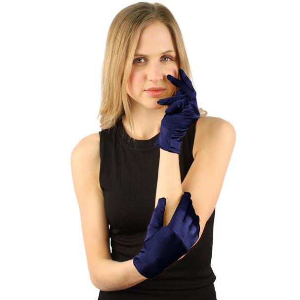 """Short Satin Gloves Navy Blue 9"""" 5110NB"""