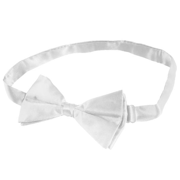 Kids Satin Bow Tie White  6836CH