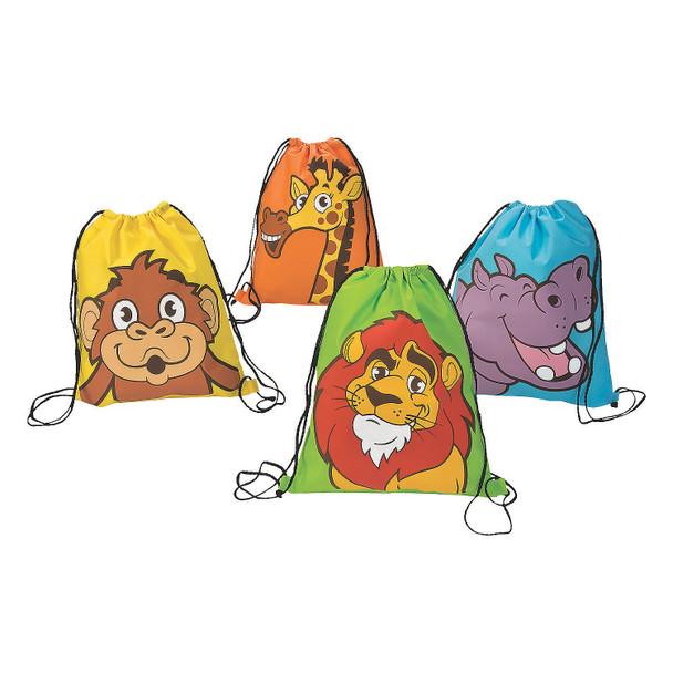 "12 PACK Zoo Animal Drawstring Backpacks Treat Bags 12"" x 15""  3883"