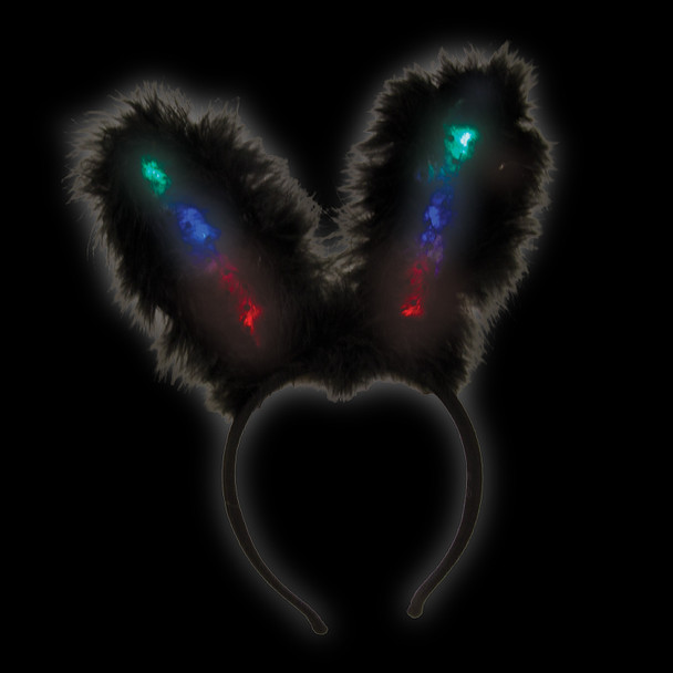 12 PACK  Black Flashing LED Bunny Ears Premium 1876D