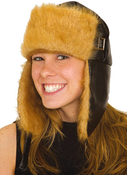 12 PACK Trooper Trapper Aviator Hat Black with Brown Fur 5832