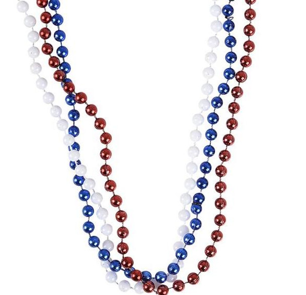 Red, White & Blue Patriotic Bead Necklaces 12 PACK 6591