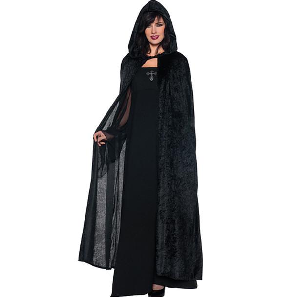 Black Long Velvet Hooded Cloak 4546