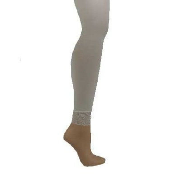 Footless Tights White with Lace Bottom 8013