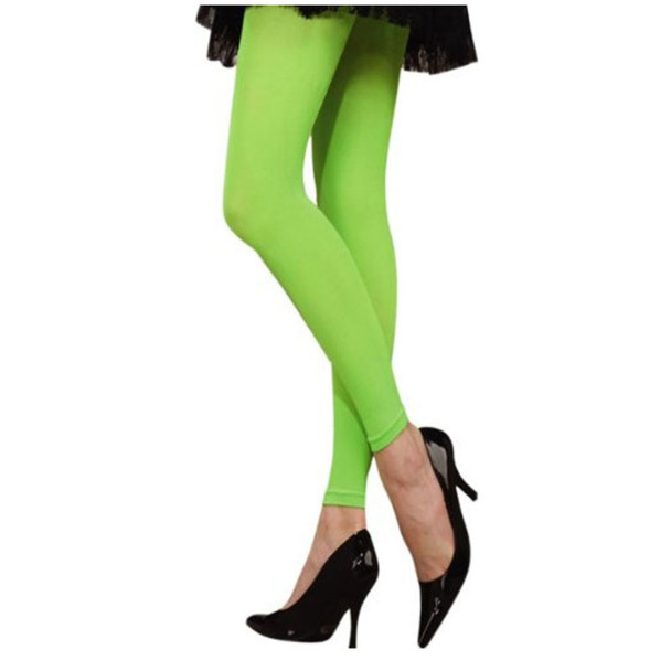 Neon Green Footless Tights 8015