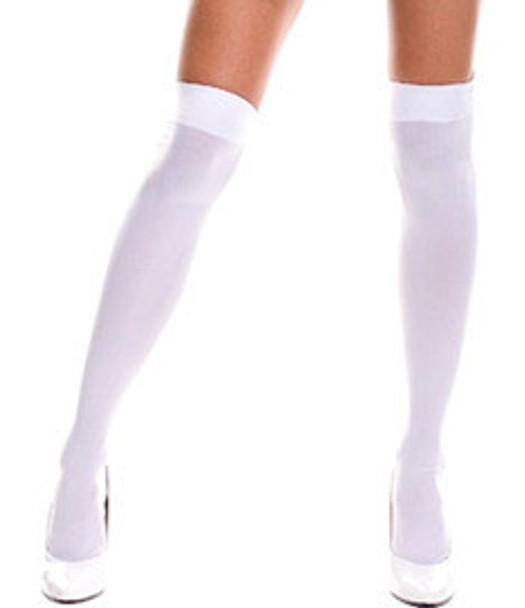 White Sheer Thigh High Stockings 8022