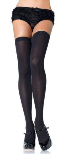 Black Opaque Thigh High Stockings 8027
