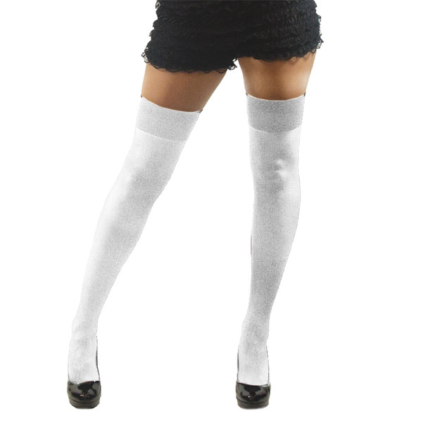 White Opaque Thigh High Stockings 8028