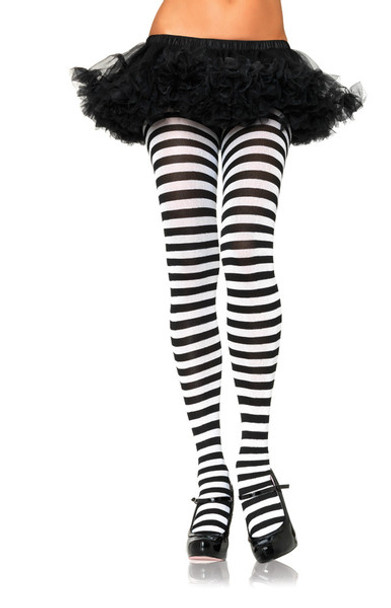 White and Black Striped Tights Opaque 8081
