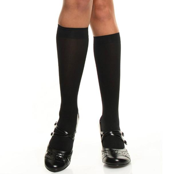 Black Opaque Knee Highs 8101