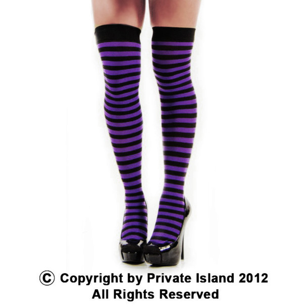 Purple and Black Striped Thigh High 8171