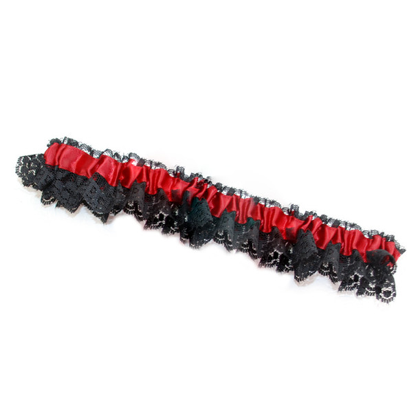 Black and Red Striped Satin Garter 8193
