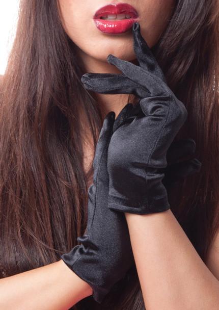 Black Short Satin Gloves 1201