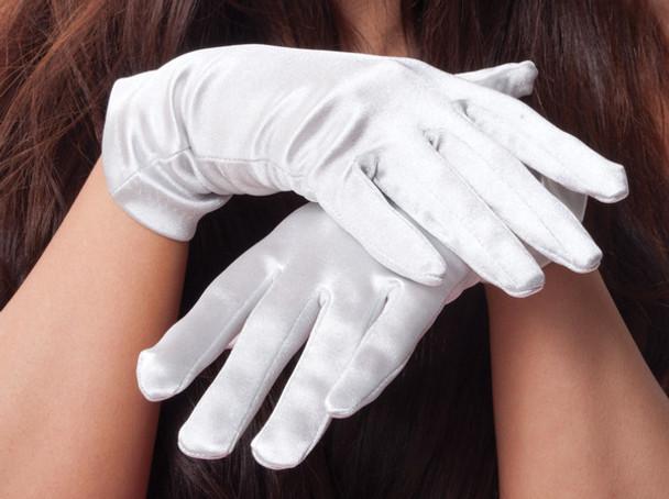 White Short Satin Gloves Adult 1202
