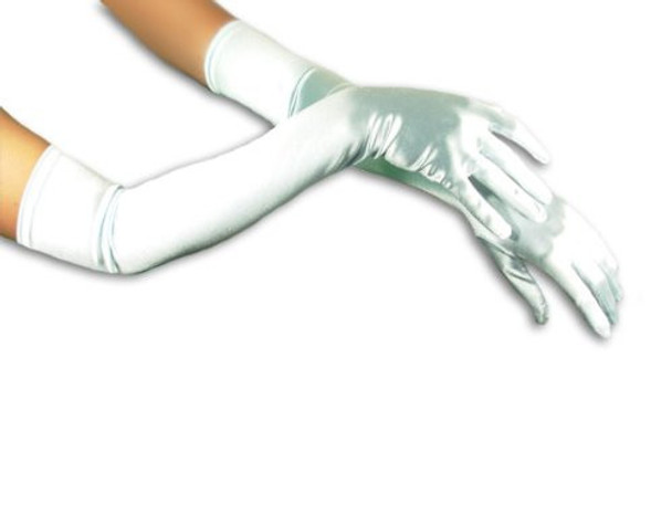 "Silver Gloves Opera Satin 23"" 1218"