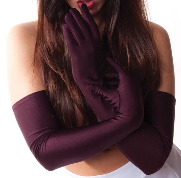 "Burgundy Gloves Opera Satin 23"" 1220"