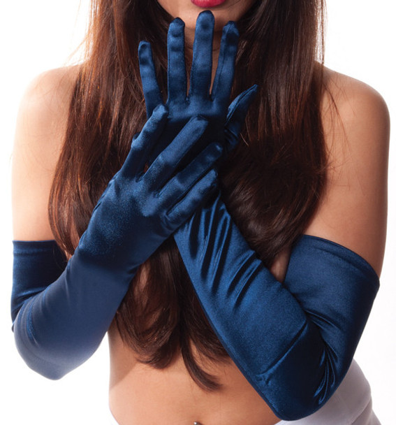 "Navy Satin Opera Gloves 23"" 1224"