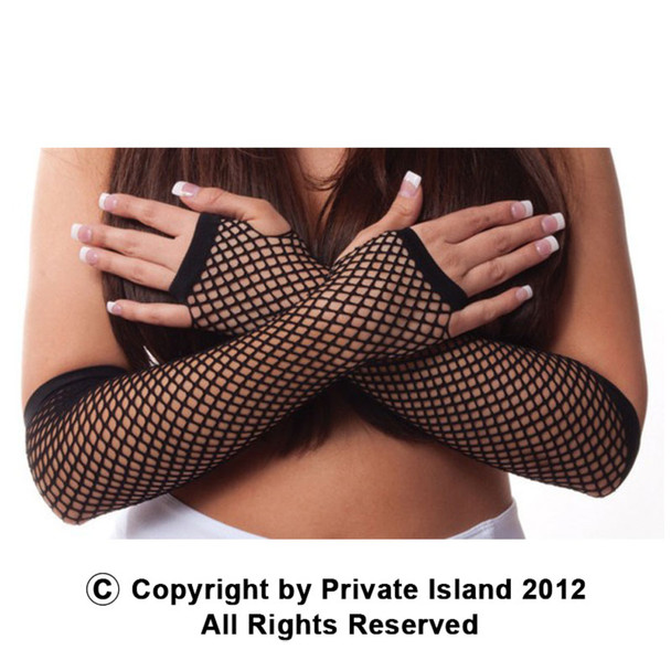 80's Long Fishnet Gloves - Black 1230