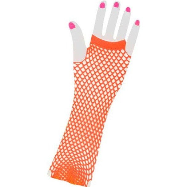 12 PACK 80's Long Fishnet Gloves - Neon Orange 1231