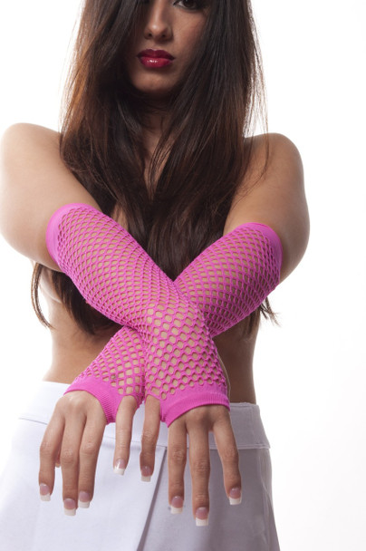 80's Long Fishnet Gloves - Neon Pink 1232