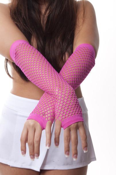 Wholesale Fishnet Gloves | Bulk 80's Pink Fishnet Gloves | PINK 12 PACK 1232D
