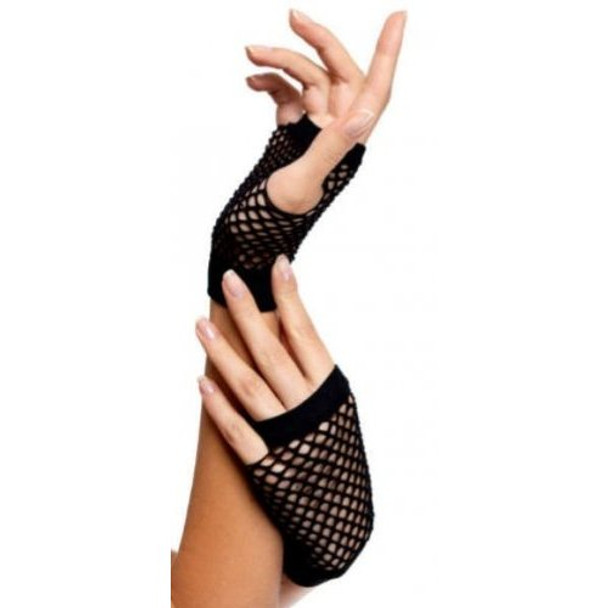 80's Short Fishnet Gloves - Black 12 PACK 1235