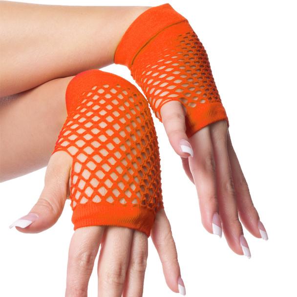 80's Short Fishnet Gloves - Neon Orange 1236