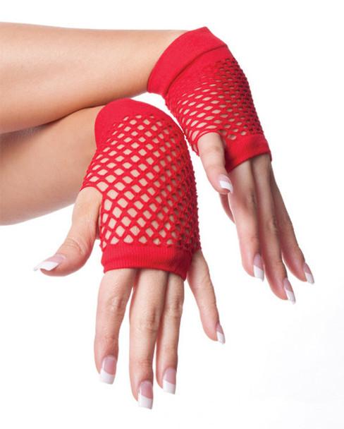 Red 80's Short Fishnet Gloves 12 PACK - Red 1238
