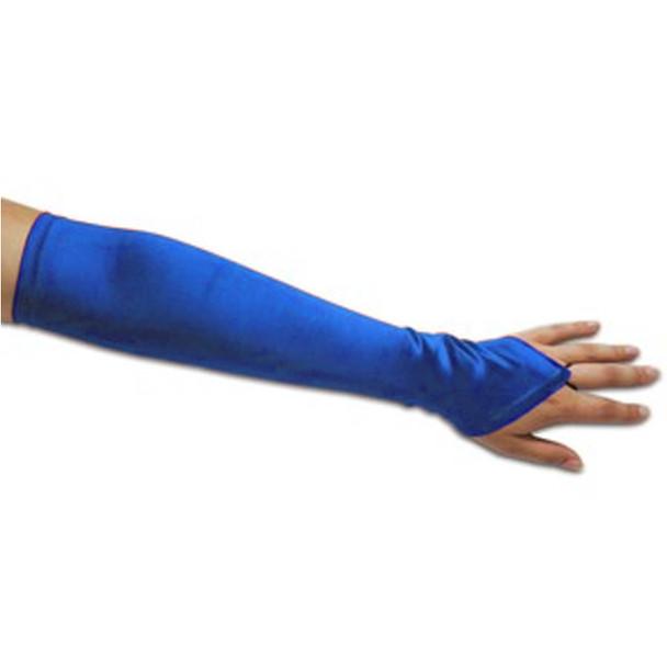 Royal Blue Satin Gauntlet Fingerless Gloves 12 PACK 5081
