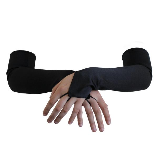 """Black Satin Gauntlet Fingerless Gloves 18"""" 12 PACK 5082"""