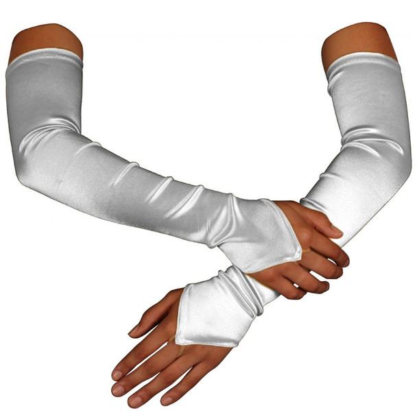 White Satin Gauntlet Fingerless Gloves 12 PACK 5084
