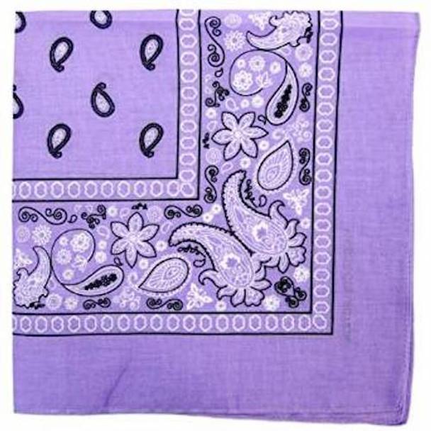 """Lavender Bandanna Paisley 22"""" Square Standard 100% Cotton 12 PACK  1912DZ"""