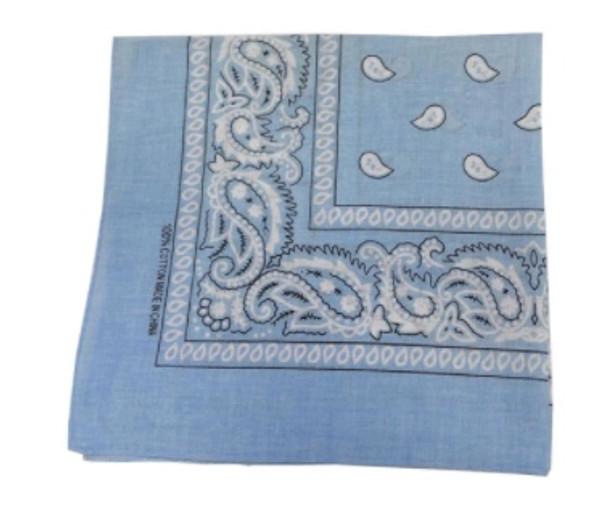 "12 PACK Light Blue Paisley Bandanna 22"" Square Standard 100% Cotton 1913DZ"