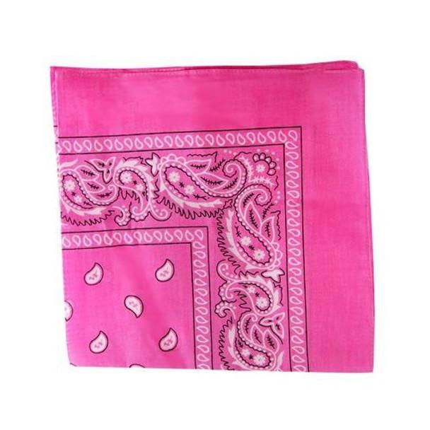 "Hot Pink Paisley Bandanna 22"" Square Standard 100% Cotton  12 PACK 1917DZ"