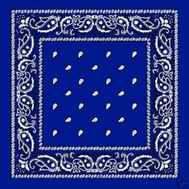 "Royal Blue Paisley Bandanna 22"" Square Standard 100% Cotton 12 PACK 1920DZ"