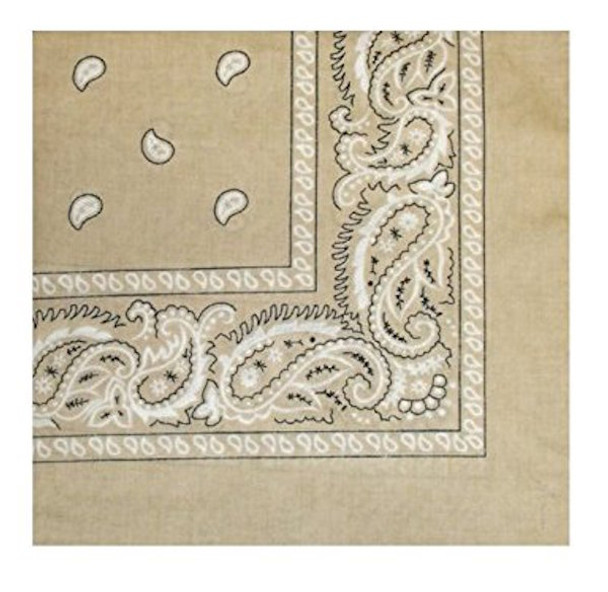 "Tan Paisley Bandanna 12 PACK 22"" Square Standard 100% Cotton 1921DZ"