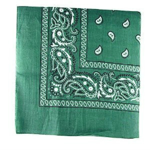 """Forest Green Paisley Bandanna 22"""" Square Standard 100% Cotton 1927 12 PACK"""