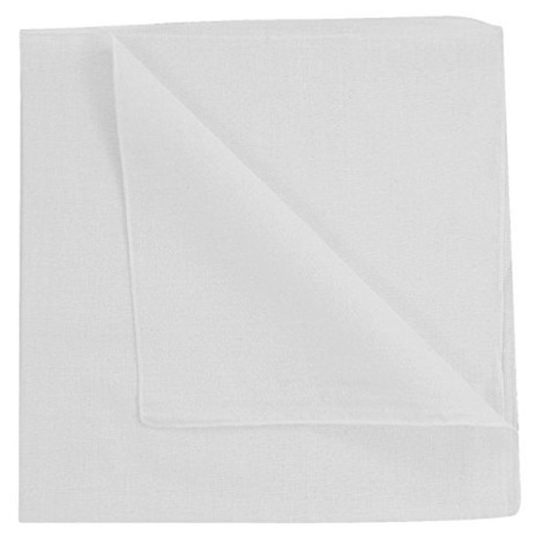 Solid White Bandanna  12 PACK 1938